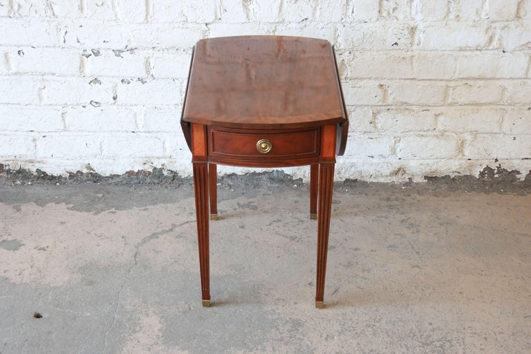 Georgian Baker Furniture Mahogany and Inlaid Satinwood Drop-Leaf Side Table For Sale