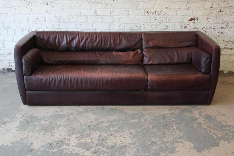 Italian Roche Bobois Bauhaus Style Leather Sofa, 1970s For Sale