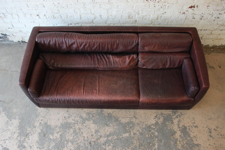 Late 20th Century Roche Bobois Bauhaus Style Leather Sofa, 1970s For Sale