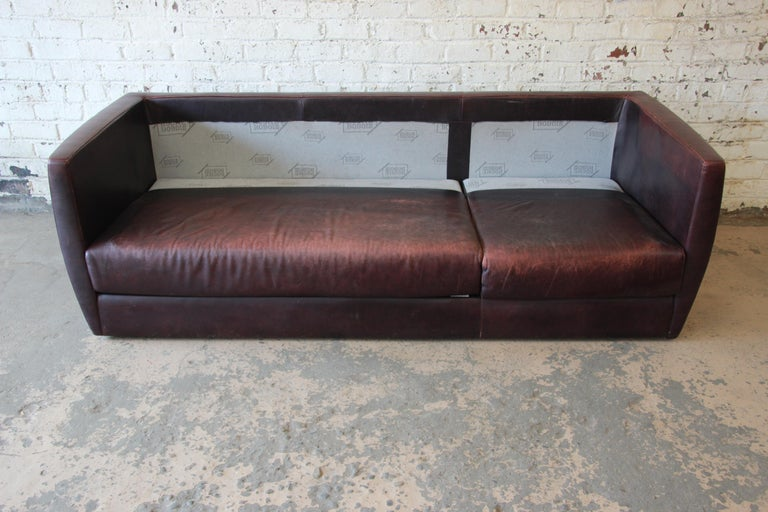 Roche Bobois Bauhaus Style Leather Sofa, 1970s For Sale 4