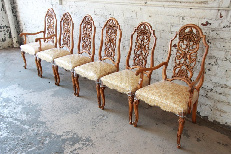 Louis XV Romweber Ornate French Carved Dining Chairs, Set of Six For Sale