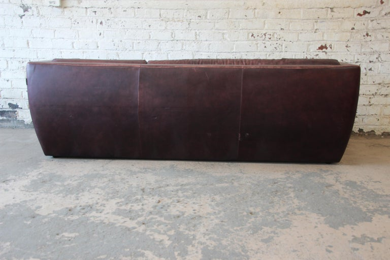 Roche Bobois Bauhaus Style Leather Sofa, 1970s For Sale 3
