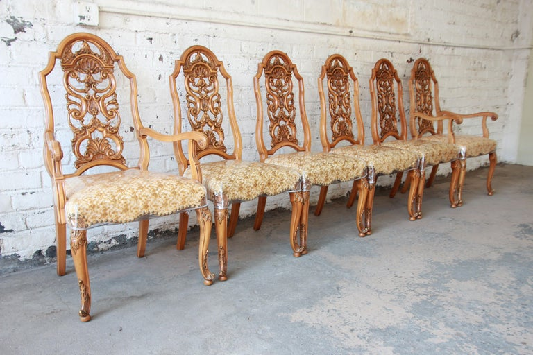 American Romweber Ornate French Carved Dining Chairs, Set of Six For Sale