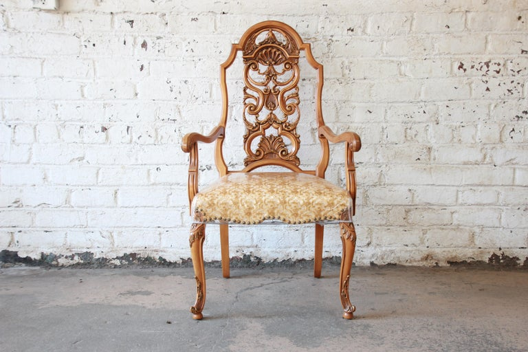 Romweber Ornate French Carved Dining Chairs, Set of Six In Good Condition For Sale In South Bend, IN