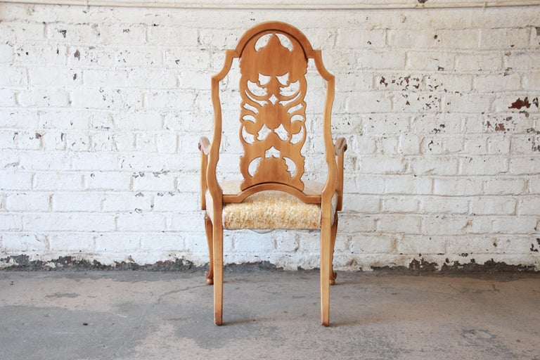 Romweber Ornate French Carved Dining Chairs, Set of Six For Sale 4