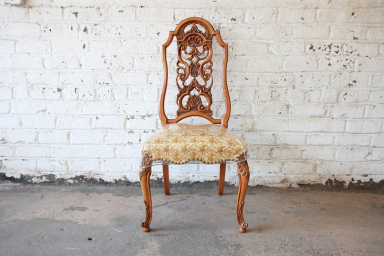 Romweber Ornate French Carved Dining Chairs, Set of Six For Sale 5