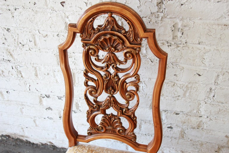 Romweber Ornate French Carved Dining Chairs, Set of Six For Sale 6