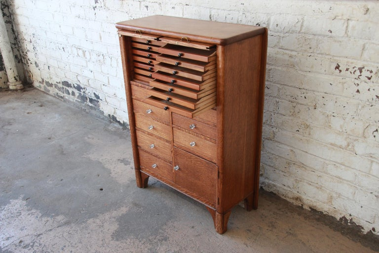 Antique Oak 22 Drawer Dental Cabinet For Sale At 1stdibs