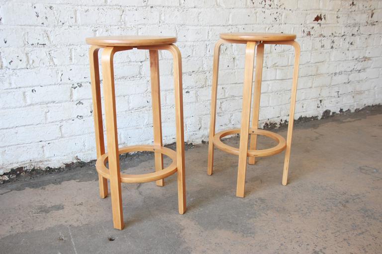 Alvar Aalto For Artek Model 64 Bentwood Bar Stools At 1stdibs
