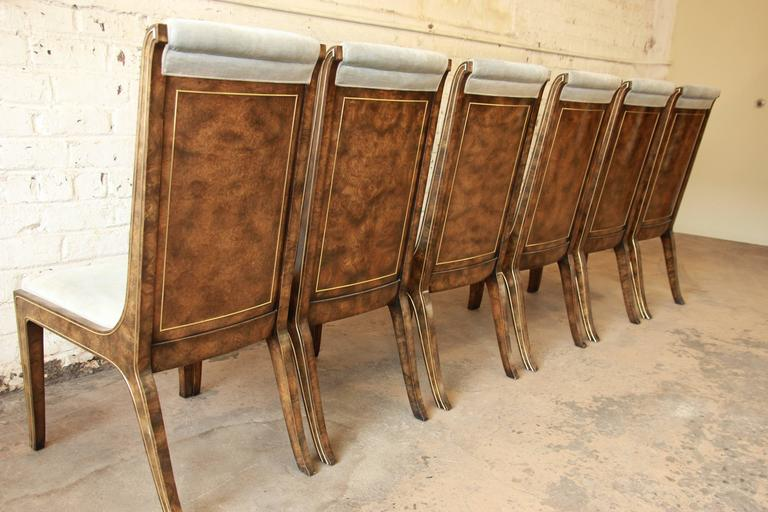 William Doezema For Mastercraft Burl Wood And Brass Dining Chairs Set Of Six At 1stdibs