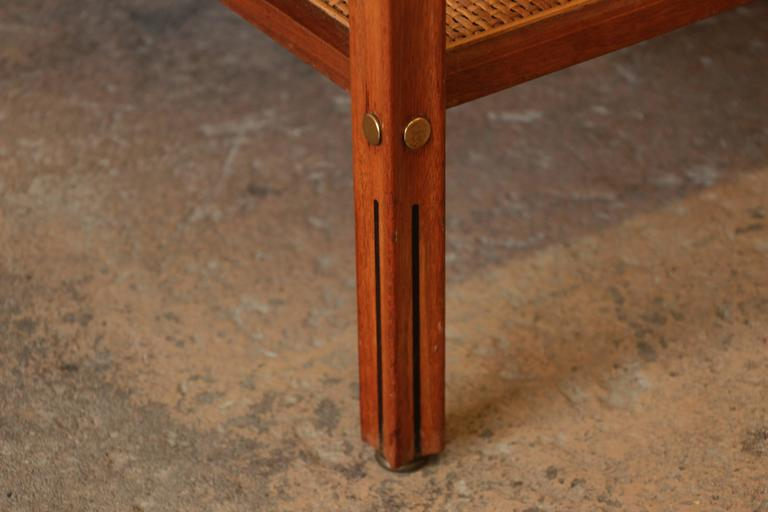 Gerry Zanck for Gregori Mid-Century End Table in Walnut, Travertine, Cane, Brass 9