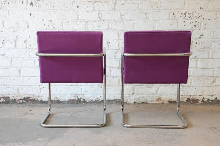 Upholstery Pair of Mies Van Der Rohe Brno Chairs for Knoll International