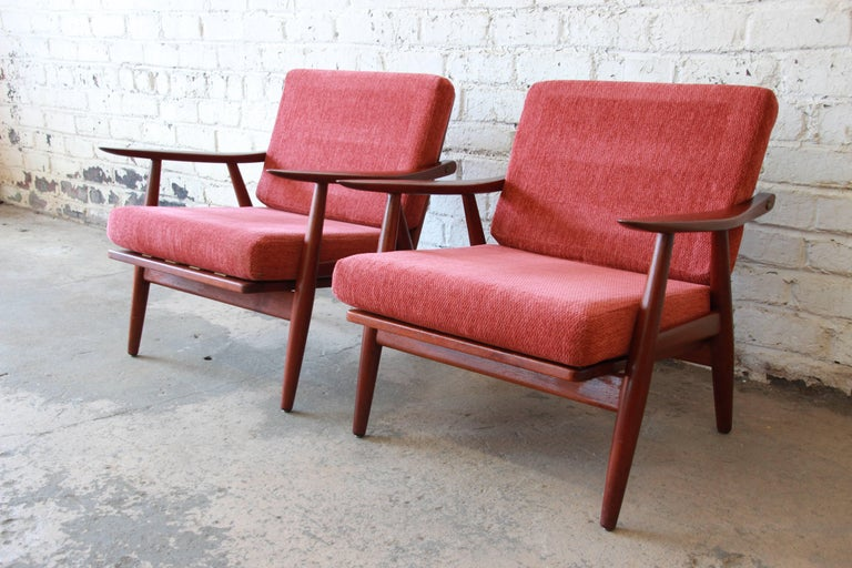 Hans J. Wegner GE-270 Teak Lounge Chairs, 1950s at 1stdibs