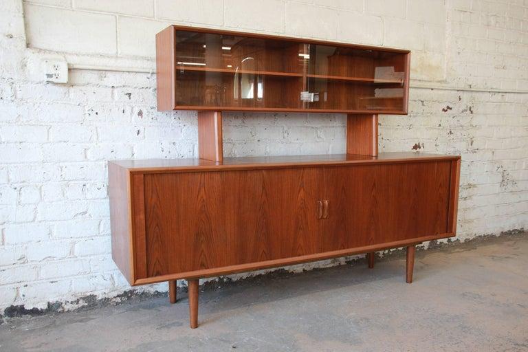 Scandinavian Modern Ib Kofod-Larsen for Faarup Møbelfabrik Danish Modern Teak Credenza with Hutch For Sale