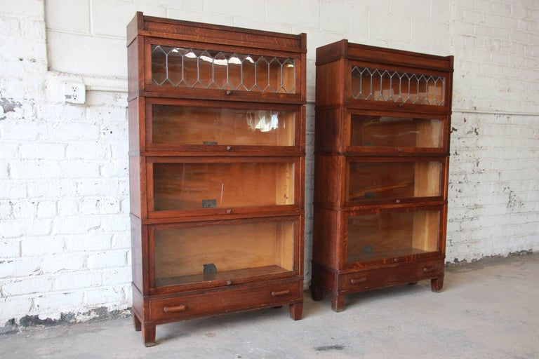 Arts And Crafts Antique Oak Barrister Bookcases With Leaded Glass Doors By Globe Wernicke