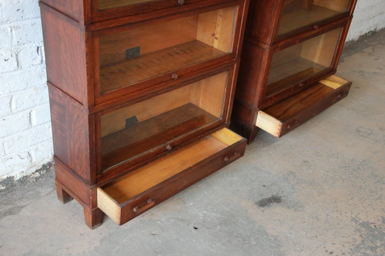 Antique Oak Barrister Bookcases With Leaded Glass Doors By