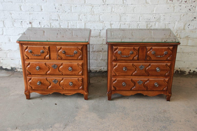 Pierre Deux French Country Three Drawer Chests Or Nightstands By Henredon Pair For Sale At 1stdibs