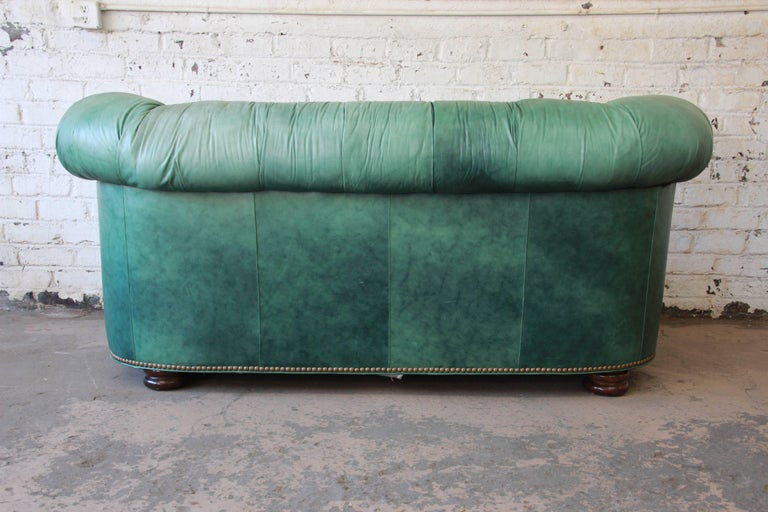 Vintage Teal Tufted Leather Chesterfield Sofa by Hancock and Moore For Sale at 1stdibs