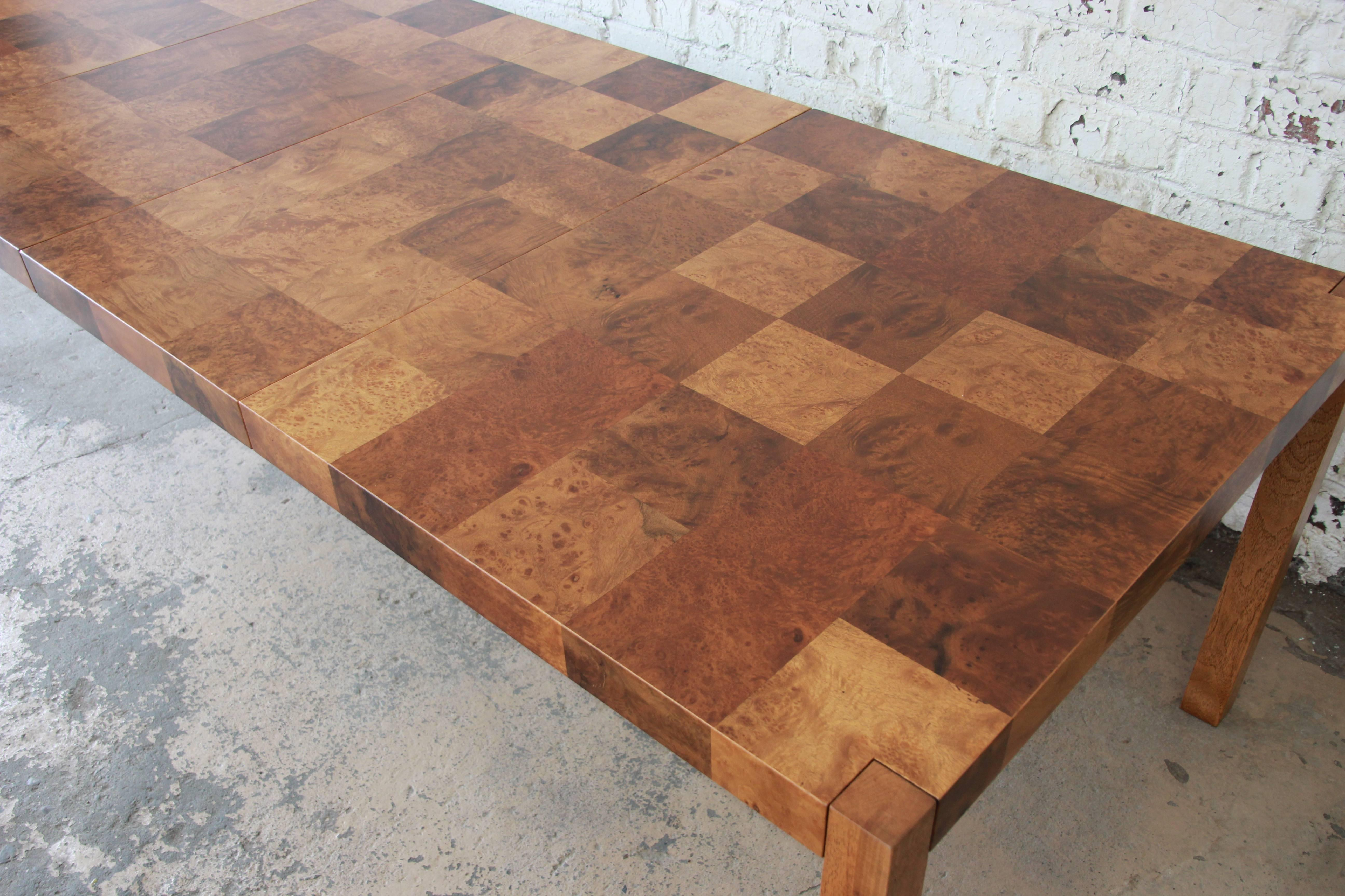 Milo Baughman Patchwork Burl Wood Parsons Extension Dining Table In  Excellent Condition For Sale In South