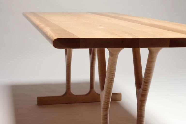 Slingshot Contemporary Dining Table With Trestle Legs In