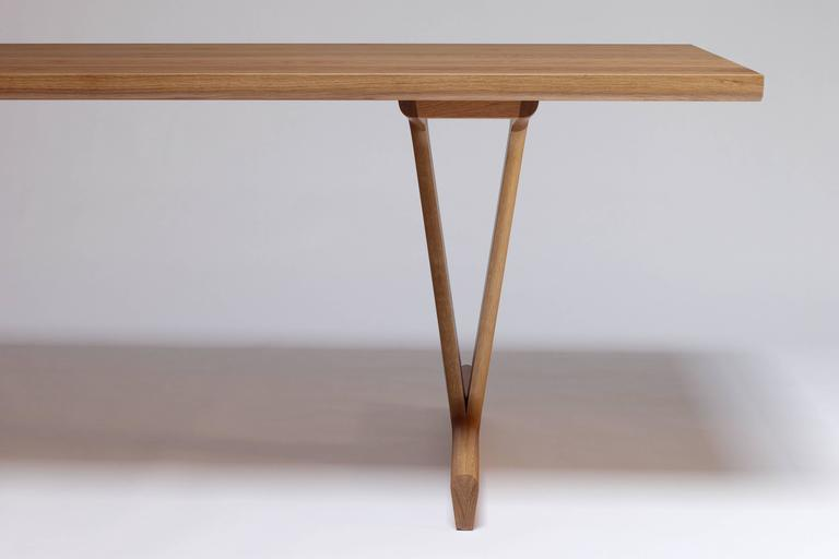 Woodwork IV Dining Table in Solid White Oak with Trestle Legs For Sale