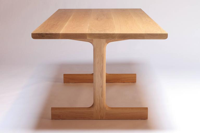 American IV Dining Table in Solid White Oak with Trestle Legs For Sale