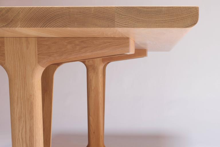 Contemporary IV Dining Table in Solid White Oak with Trestle Legs For Sale