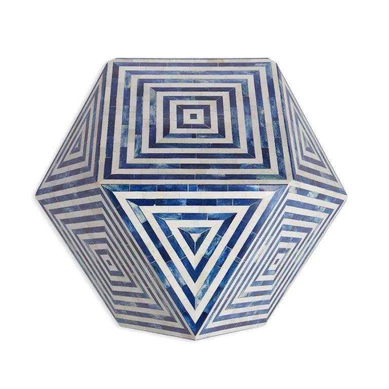 AELFIE Modern Striped Mirah Blue and White Geometric Cube Table Stool For Sale