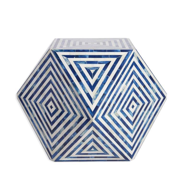 Aelfie Modern Striped Mirah Blue And White Geometric Cube