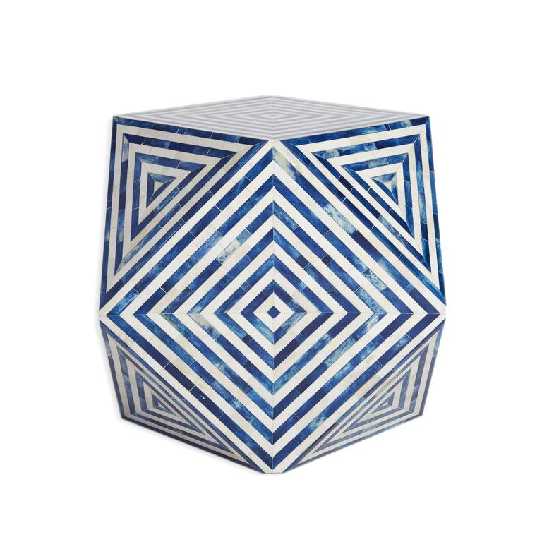 Indian  AELFIE Modern Striped Mirah Blue and White Geometric Cube Table Stool For Sale