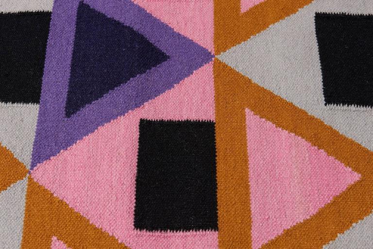 Aelfie Morgan Modern Dhurrie Handwoven Geometric Pink