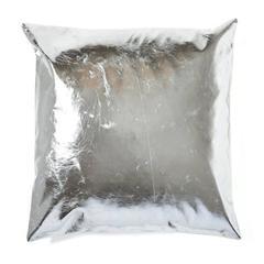 Metallic Silver Leather Throw Pillow