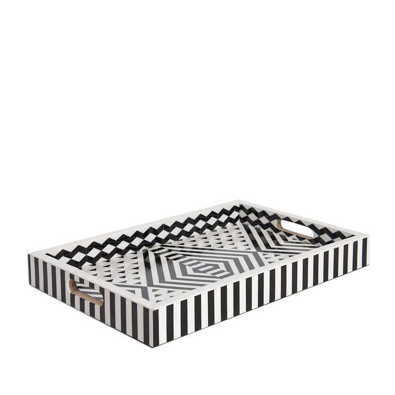 Aelfie Modern Striped Geometric Black and White Bone Inlay Tray 2
