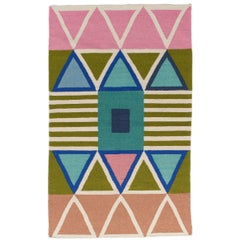 Bright Modern Dhurrie Handwoven Geometric Colorful Pink Blue Rug