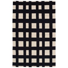 Flatwoven Modern Black and White Plaid Stripe Check Dhurrie Rug