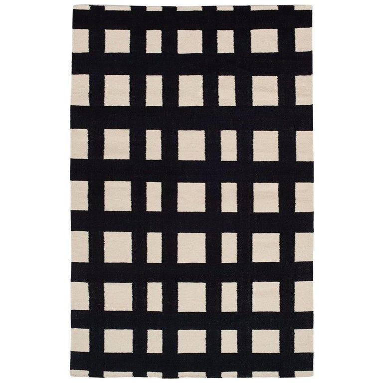 Flatwoven Modern Black And White Plaid Stripe Check