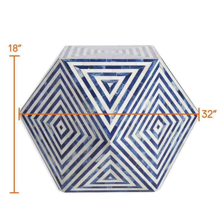 Inlay  AELFIE Modern Striped Mirah Blue and White Geometric Cube Table Stool For Sale