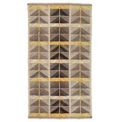 Mid-20th Century Ingrid Dessau, Diagonals, Scandinavian Modern Flat-Weave Rug