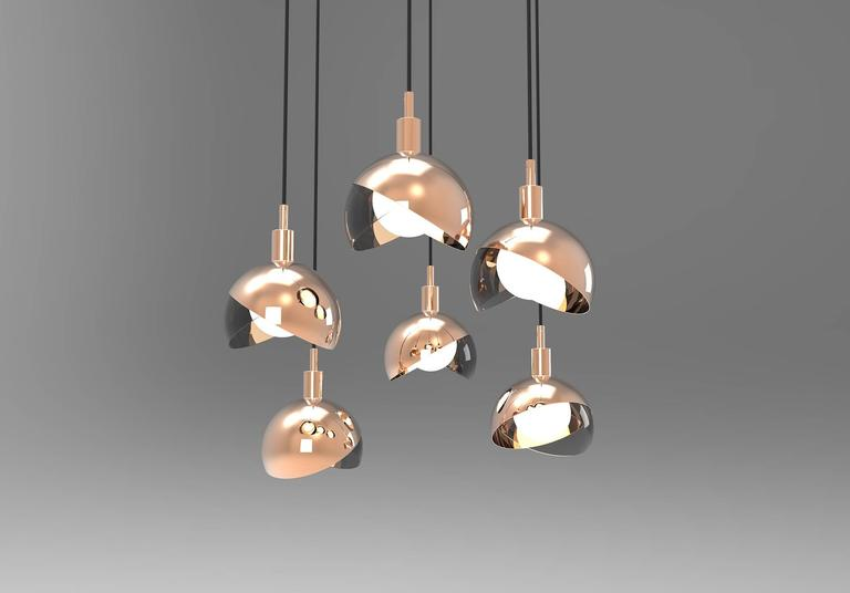 Italian Calimero Small Designed by Dan Yeffet, Contemporary Lamp in Blown Glass & Copper For Sale