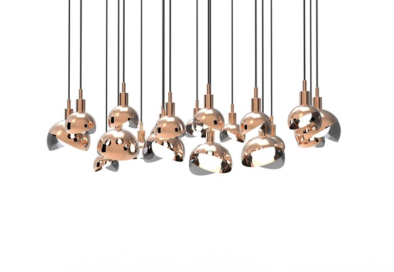 Calimero Small Designed by Dan Yeffet, Contemporary Lamp in Blown Glass & Copper For Sale 1