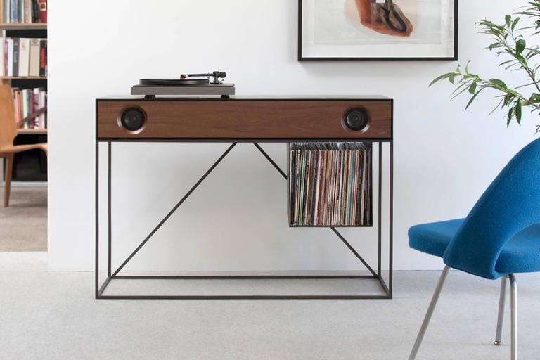 Whether your spinning records, streaming, or watching TV, the stereo console table is the ultimate entertainment console for any room in your home. The stereo cabinet is handcrafted in New York's Hudson Valley in a variety of lacquer finishes mixed