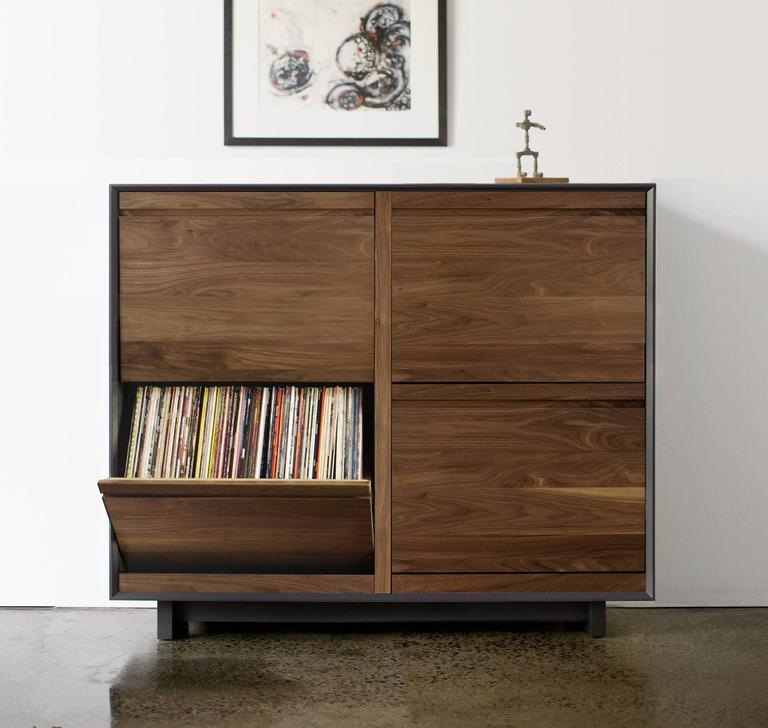 modern double lp storage cabinet for sale at 1stdibs. Black Bedroom Furniture Sets. Home Design Ideas