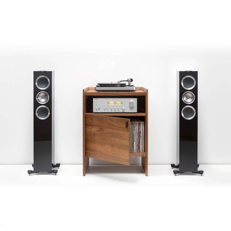 An all-in-one solution, Unison combines both audio gear and record storage into a beautifully designed single piece of solid wood furniture. When flanked with floor standing speakers Unison creates the ultimate dedicated entertainment furniture