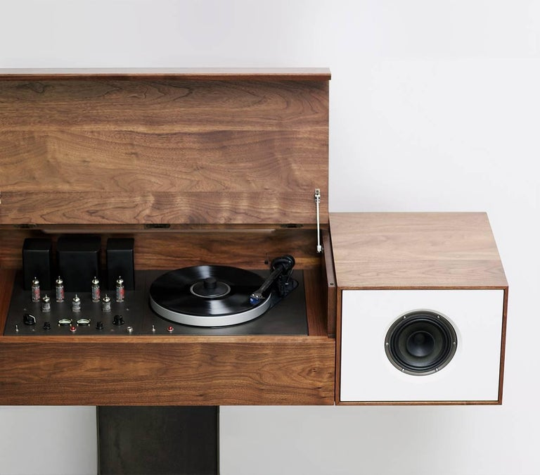 Hand-Crafted Modern Record Console Glacier White Speaker Front For Sale