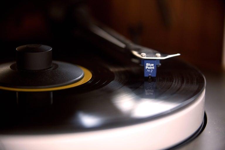 Walnut Modern Record Console Glacier White Speaker Front For Sale
