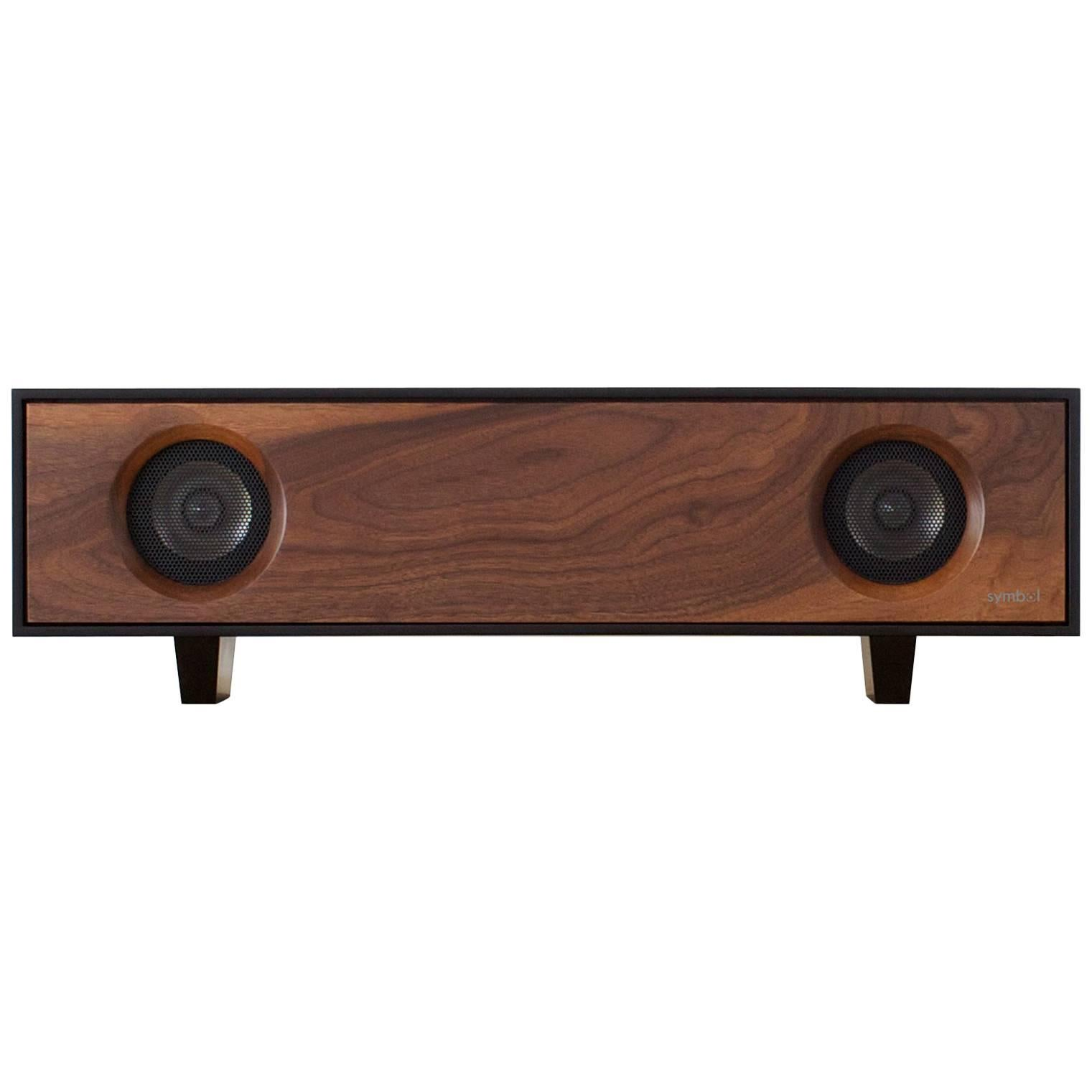 Tabletop hifi speaker natural walnut cabinet with natural walnut speaker front for sale at 1stdibs