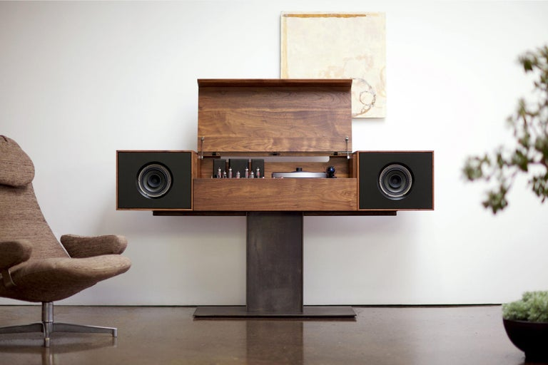 """The flagship of the Symbol audio line, the Modern Record Console pays homage to """"all in one"""" console hifi's of the 1950s, an idea whose time, we believe, has come around again. Each cabinet is individually crafted in the tradition of Fine bench-made"""