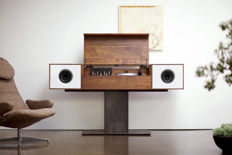 American Modern Record Console Slate Grey Speaker Front For Sale
