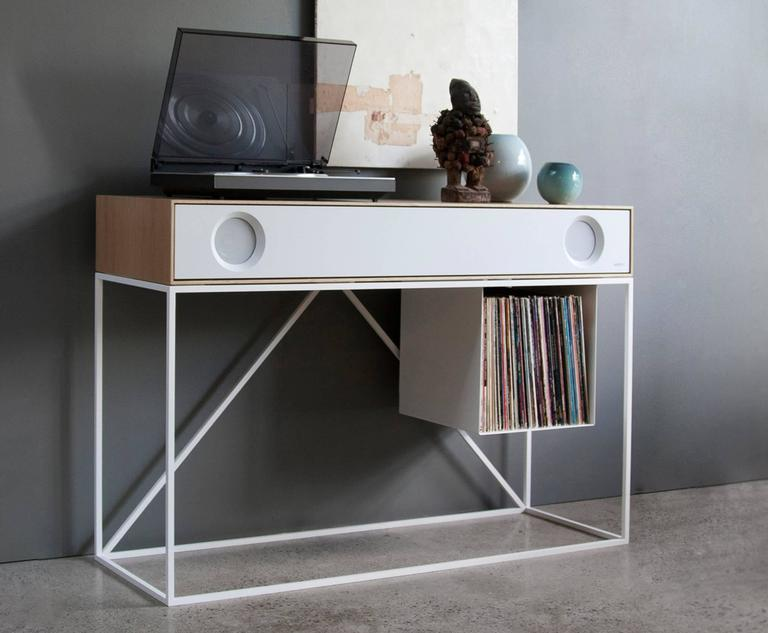 Modern Stereo Console Table With Turntable Package And LP Storage For Sale