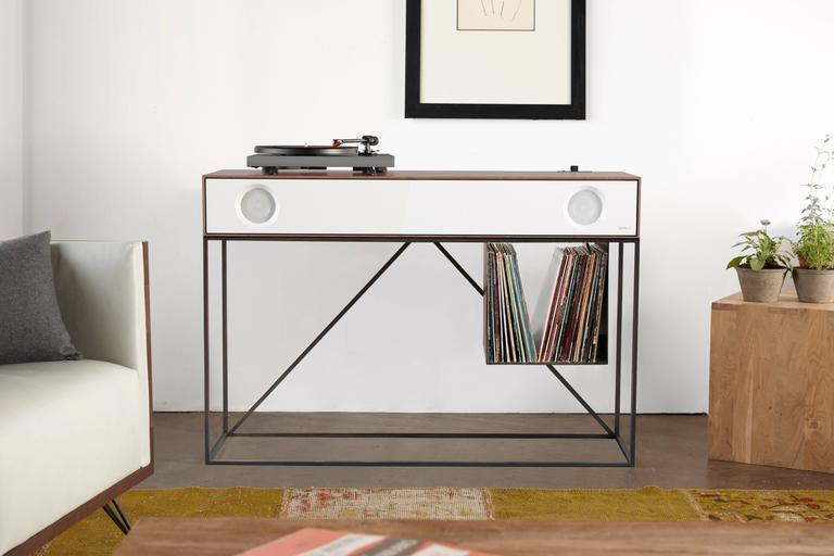 American Stereo Console Table with Turntable Package and LP Storage For Sale